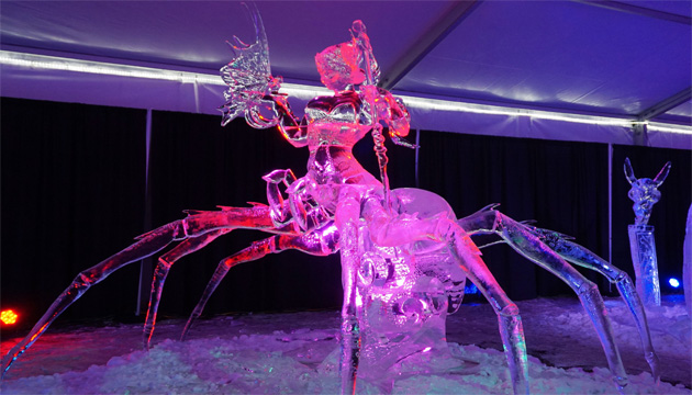 The Baisas brothers' work called Alliance won first place at the ice carving contest at the Boardwalk Ice on Whyte Festival.